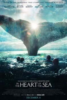 Directed by Ron Howard. With Chris Hemsworth, Cillian Murphy, Brendan Gleeson, Ben Whishaw. A recounting of a New England whaling ship& sinking by a giant whale in an experience that later inspired the great novel Moby-Dick. Film 2015, 2015 Movies, Hd Movies, Movies To Watch, Movies Online, Tom Holland, Chris Hemsworth, Ron Howard, Howard Charles