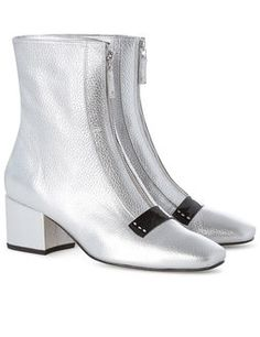 Silver Leather Delta Ankle Boots