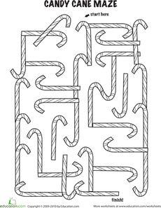 Follow the Candy Cane Maze Worksheet
