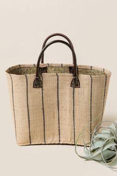 8811634a01b Kori Small Straw Tote in Stripes. Straw ToteLeather HandleBrown LeatherFashion  BagsFashion HandbagsBrown Skin