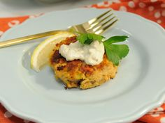 Salmon Cakes with Artichoke Tartar Sauce recipe from Katie Lee via Food Network