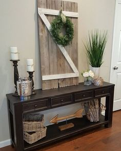 Create rustic farm charm with wood accents and greenery in your entryway. Candle… Create a rustic farm charm with wood accents and greenery in your entrance area. Candlesticks and wicker baskets are an excellent accessory for the Gavelston Console Table. Decor, Interior, Farmhouse Decor, Country Decor, Rustic Decor, Living Room Decor, Entryway Decor, Home Decor, Rustic House