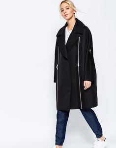 Image 1 - ASOS WHITE - Manteau ovoïde texturé avec fermeture éclair