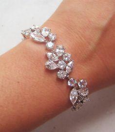 Swarovski Rhinestone Bracelet, Silver or Gold Crystal Bridal Cuff, Crystal Wedding Bracelet - ADARA by TheRedMagnolia on Etsy