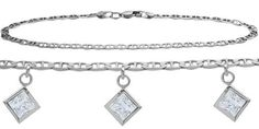 14K White Gold 9 Inch Mariner Anklet with Genuine 195 Carat White Topaz Square Charms >>> Be sure to check out this awesome product.