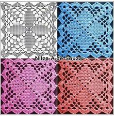 Diy Crochet Granny Square, Crochet Lace Edging, Crochet Square Patterns, Christmas Crochet Patterns, Crochet Quilt, Crochet Blocks, Crochet Rope, Crochet Stitches Patterns, Crochet Squares