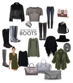Over the knee boots by fabianarocco on Polyvore featuring moda, Valentino, Chicwish, Akira, Topshop, Glamorous, Paige Denim, Hunter, Rupert Sanderson and Steve Madden