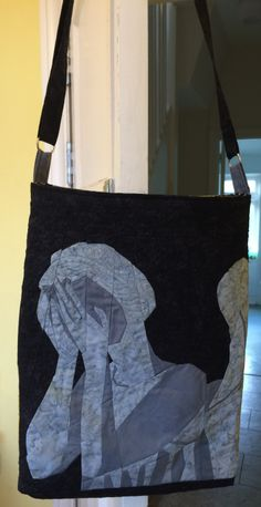 Dr Who Weeping Angel paper pieced, quilted and made into a bag with a Tardis on the other side.