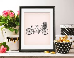 Wedding Tandem Rose Basket Bike Bicycle 8x10 Pink Background & ClipArt drawing Retro Printable Image DIGITAL INSTANT DOWNLOAD HQ300dpi by ZikkiArt on Etsy