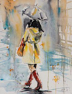 Walk in rain by Kovacs Anna Brigitta