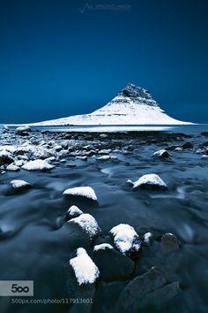Kirkjufell in white and blue by VincenzoMazza  Grundarfjörður Kirkjufell grundarfjordur iceland mountains snaefellsnes snæfellsnes travel Kirkjufel