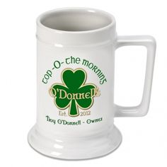 Personalized 16 oz. Irish Beer Stein - Top O the Morning.  Whether they favor a lager, ale, malt or light beer, they'll toast you whenever they pour themselves a cold one. Each personalized white ceramic mug holds 16 ounces of your favorite beverage. Specify name, and year. Dishwasher safe.