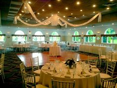 Village by the sea.love the ceiling decor Maine Wedding Venues, Ceiling Decor, The Good Place, Sea, Table Decorations, Thoughts, Bride, Wedding Bride, Bridal
