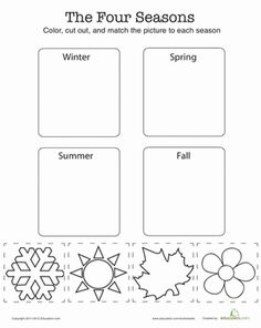 Help your kindergartener cut out the shapes at the bottom, then match them up to the right season. Then go crazy coloring!