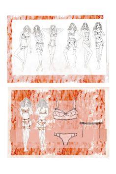 Fashion Sketchbook - contour fashion design board, lingerie sketches; fashion portfolio // Natasha Elliott