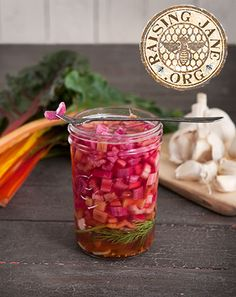 Pickled Rainbow Chard Stems Prep Time: 10 Mintues Cook Time: 5 Minutes Makes: 1 Pint