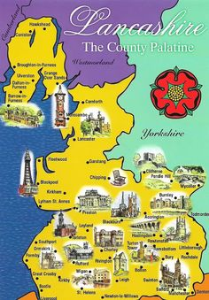 """Lancashire map sent to me by Gordon of Northern Ireland. """"Here is a map of """"Real Lancashire""""-the county borders before 1974. The Lake District and Liverpool & Manchester were taken away. The Friends of REal Lancashire want the """"stolen"""" parts returned!!"""""""