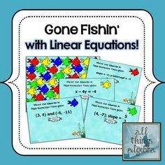 Gone Fishin' with Linear Equations Game - Practice writing linear equations given slope and y-intercept, standard form, point and slope, and two points