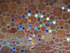 cordwood with glass bottles