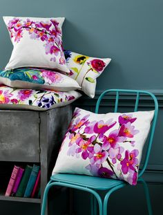 Beautiful floral cushions from Bluebellgray. Floral Cushions, Scatter Cushions, Throw Pillows, Modern Cushions, Burlap Pillows, Cushion Covers, Pillow Covers, Bluebellgray, Spring Home