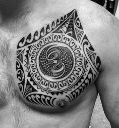 Marquesan Breast Tattoo Design