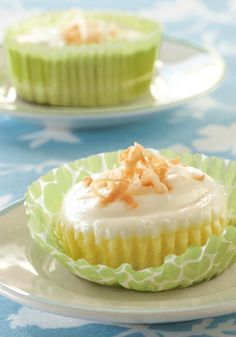 "Coconut Cream Mini Cheesecakes — Bye-bye, pie. Coconut cream teams up with cheesecake in these delectable mini dessert recipe. Super easy, with an ingenious ""crust"" you're gonna love."