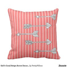 Girl's Coral Stripe Arrow Decorative Pillow