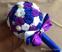 Royal Blue White And Purple Silk Rose Flower Bridal Bouquet With Luxury Pearls Diamonds Artificial