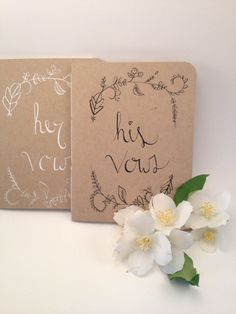 Wedding Vow Book  His and Hers  Woodland Wedding Decor Noteworthydesignsco, $10.20