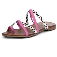 Inuovo Nice Fuxia/Cheetah ($71) ❤ liked on Polyvore featuring shoes, sandals, summer shoes, cheetah print sandals, leather flat shoes, strappy sandals and tan strappy sandals