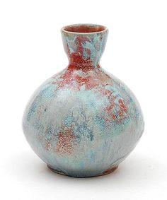 Earthenware Berbas vase with green red Reflet Métallique glaze executed by Porceleyne Fles Delft / the Netherlands ca.1900