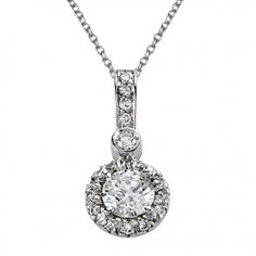 Aura Round Diamond and Pave Pendant with Pave Bail