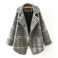 Relaxfeel Fashion Lapel Loose Plaid Wool Coat Gray (870 ZAR) ❤ liked on Polyvore featuring outerwear, coats, grey, plaid wool coat, woolen coat, grey wool coat, tartan coat and wool coat