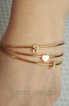 Tiny Gold Heart Bangle Bracelet - Custom Personalized Bridesmaid Gift Gold Heart Charm Bracelet Wedding Graduation Minimalist Birthday