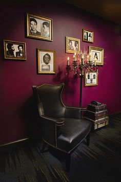 I love the color of this wall with the black/white pictures and gold frames