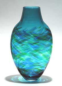 Tall Flattened Vortex Vase: Blue: Michael Trimpol: Art Glass Vase - Artful Home
