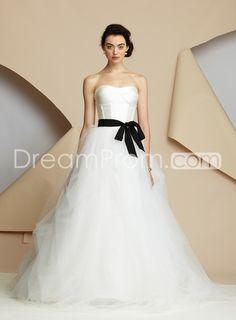 DazzelingA-line Strapless Floor-length Court Sash Wedding Dress