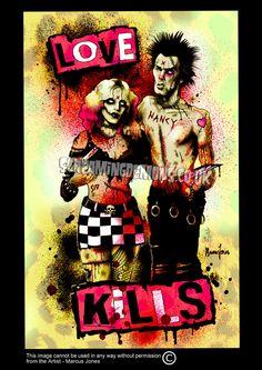 Sid and Nancy Punk Art print by Marcus Jones by TheGothabillyShop, $10.00