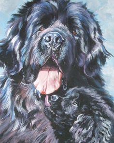 Newfoundland Dog art portrait CANVAS print of LA Shepard painting 8x10 on Etsy, $19.99