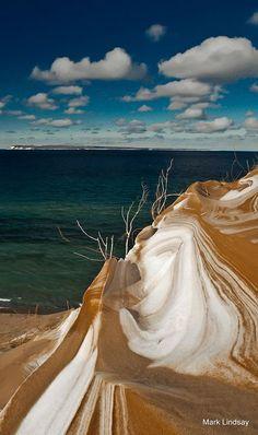 Winter Swirls at Sleeping Bear Point (Lake Michigan) by Mark Lindsay **looks like vanilla and choco ice cream swirl Michigan Travel, State Of Michigan, Northern Michigan, Lake Michigan, Wisconsin, Michigan Facts, Image Beautiful, Beautiful World, Beautiful Places