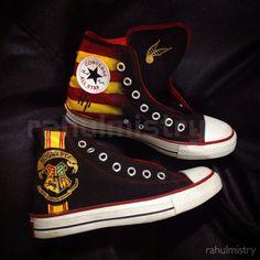 Poudlard Harry Potter peint à la main Converse