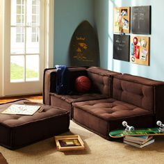 Trendy Furniture Decor Ideas for Teen Living Room by Pbteen, Best of Living Room, Comfy Brown Cushy Lounge with Marvelous Skateboard also Sc...