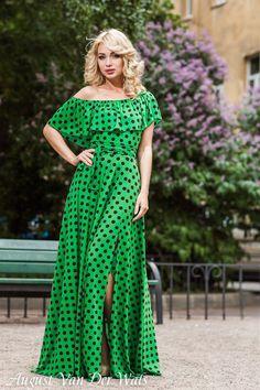 "Green Polka dot  Maxi Dress ""HotSummer"" Designer summer dress, long dress, green dress, polka dot,  plus size maxi, summer,  off shoulder"
