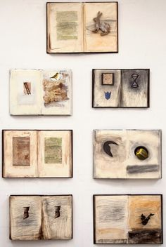 Zea Morvitz Hares Dream in 7 volumes    Acrylic, graphite & mixed media on seven discarded books, 2009