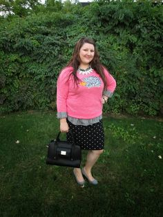 Four Season Fabulous: Mr. Hedgehog Goes to Work; Critter sweater, plaid, polka dots, grey pumps, Phillip Lim for Target bag