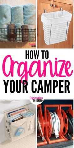 12 ways to organize your camper or RV. These camper organizing hacks will make it super easy to go camping and have an amazing trip! Camping Hacks, Travel Trailer Camping, Tent Camping, Rv Hacks, Camping Ideas, Travel Trailers, Camping Essentials, Rv Camping Checklist, Camping Outdoors