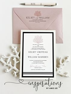 Clean nautical stripes and coral for an elegant coastal wedding! Mailing Envelopes, Addressing Envelopes, Nautical Invitations, Cruise Wedding, Nautical Stripes, Classic Wedding Invitations, Beach Weddings, Ink Color, Thank You Cards