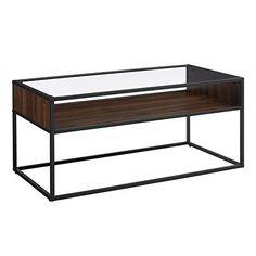 Walker Edison 40 Metal and Glass Coffee Table with Open Shelf - Dark Walnut
