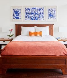 Inspired by Mexican embroidery, these Kansas City homeowners designed the posters above the bed. See our story for more photos from this home! Home Studio, Home Renovation, Home Bedroom, Bedroom Ideas, Master Bedroom, New Room, Decoration, Home Goods, House Design