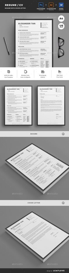 Clean, Professional CV with matching Cover Letter and CV Writing - cover letter templates for resume